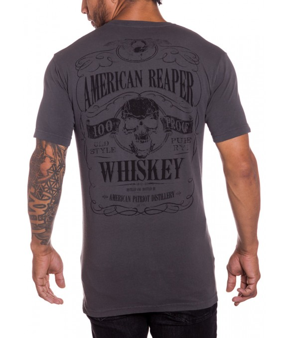 100 Proof Whiskey Mens Military T-Shirt Charcoal Front
