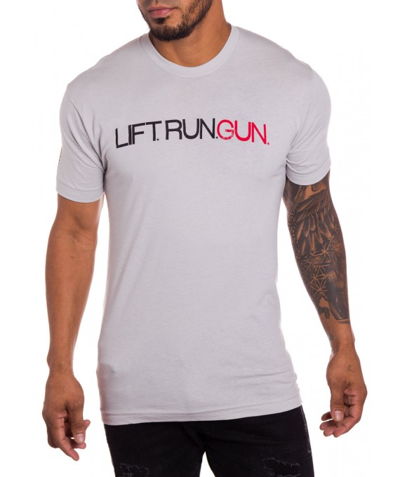 Lift Run Gun military t-shirt in white