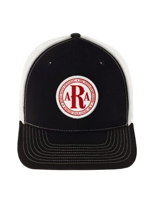 AR Club Seal Hat in Black & White & red side