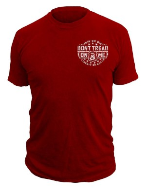 Dont Tread on Me Fire House Mens Tshirt in Red Back