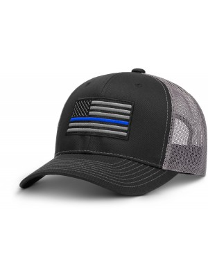 Thin Blue Line Black & Grey AR Hat